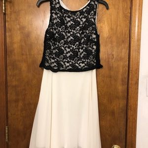 Black Lace and Cream Dress